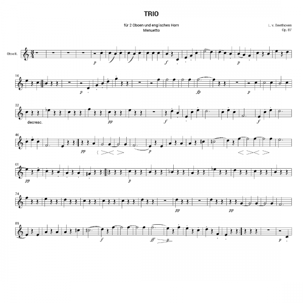 Beethoven, L. v., Trio for 2 oboes and English Horn, op. 87, Mvt. 3,